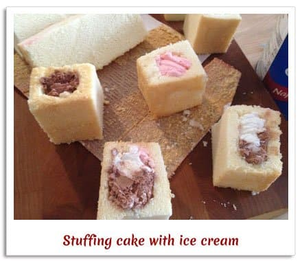 how to stuff your cake with ice cream for fried ice cream cake fondue