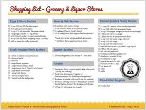 shopping list for fondue event